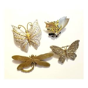 Vintage Silver Tone Butterfly Brooch Set  Set of 4